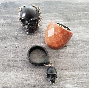 Black Skulls Statement Ring Bundle
